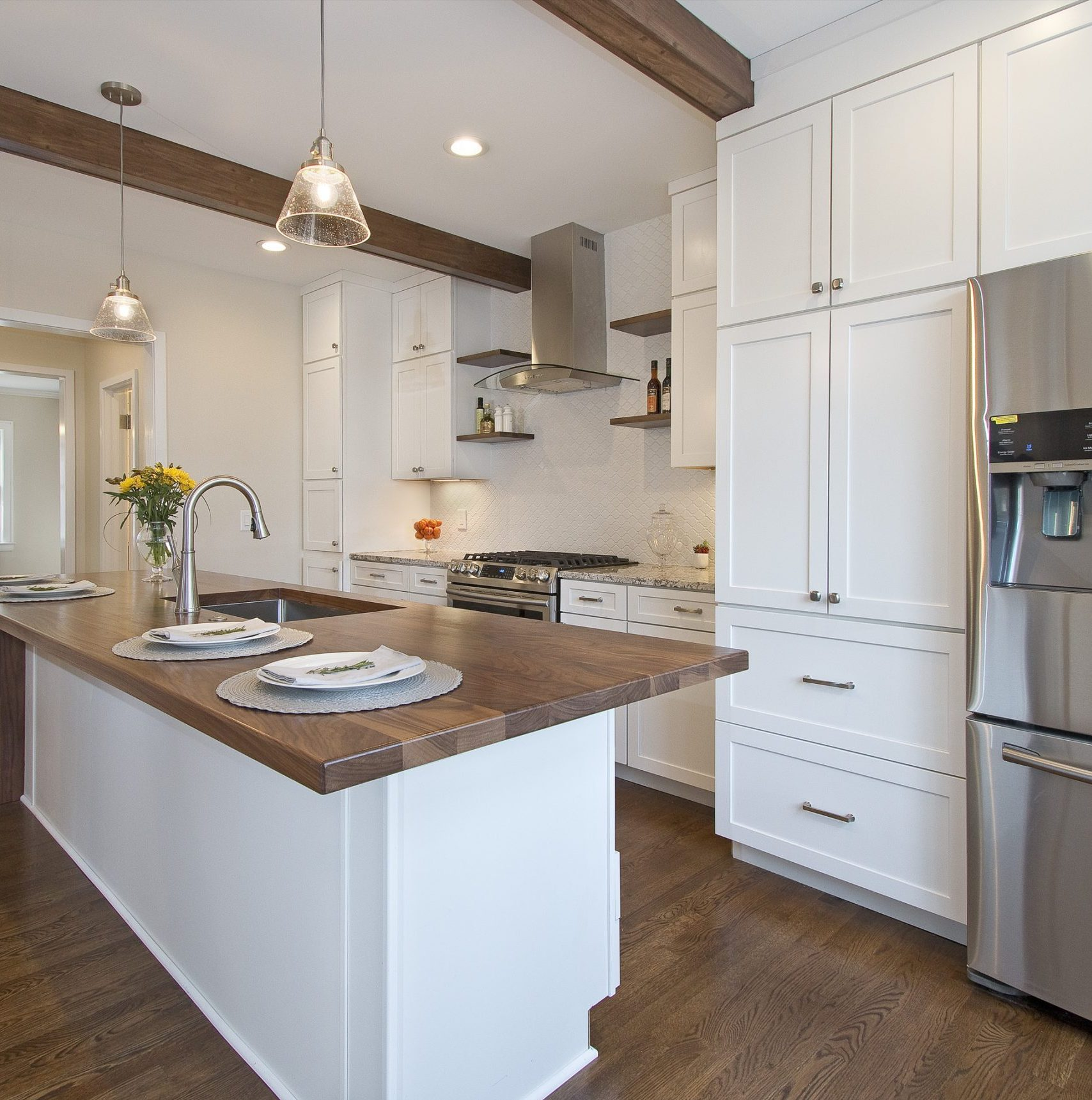 White cabinetry remains a popular choice, but greys and blues are trending, too